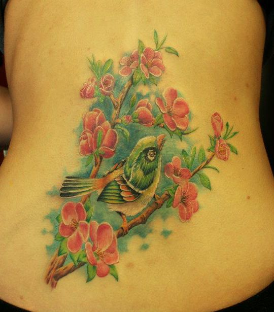 tattoos flowers and bird