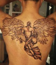 angel tattoo on his back